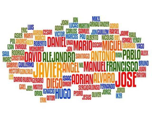 nombres más utilizados en España en el 2018