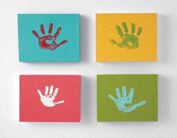 pintura dactilar para niños cuadros con mano de niños